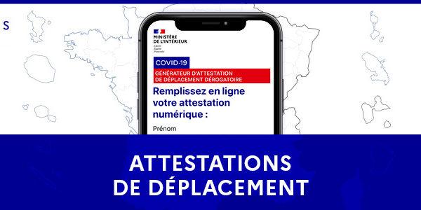 Covid 19 – Attestation de déplacement dérogatoire